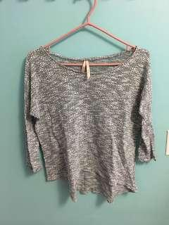 grey speck thin knit 3/4 sweater