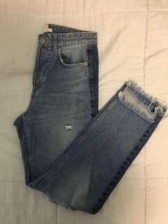 h&m high waisted colourblock side jean
