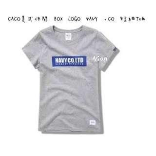🚚 CACO美式休閒 BOX LOGO NAVY .CO 短袖T恤