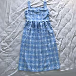 Vintage Light Blue Gingham Dress