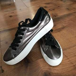 Metallic Grayish Black Sneakers
