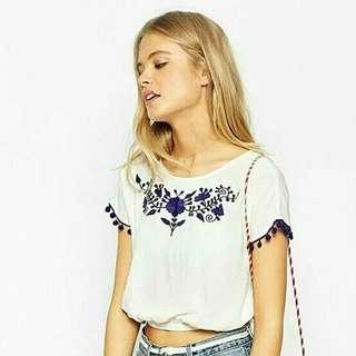 Asos Embroidered crop top