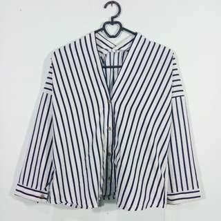 Kimono crop striped shirt