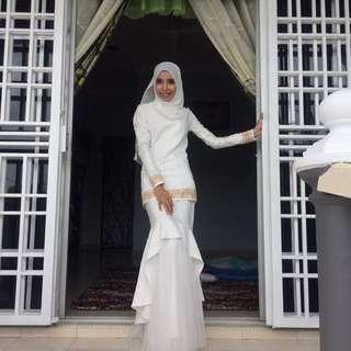 White tulle baju kurung