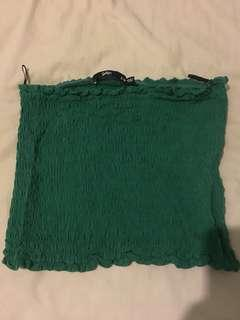 Sportsgirl Green Shirred Crop Top S-M