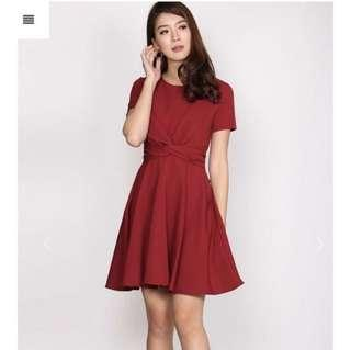 Tie twist Knot waist sleeve Dress