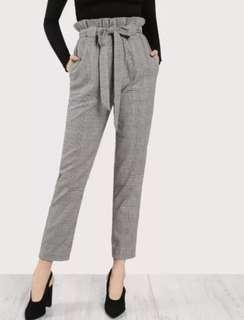 Tie waist plaid pants