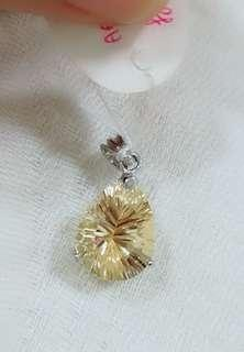 Natural Citrine Crystal pendant charm(Symbolic Wealth) #oct10