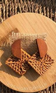 Wooden Rattan Earrings