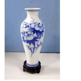 Vintage Blanc De Chine white porcelain vase floral motif circa 1960s unused