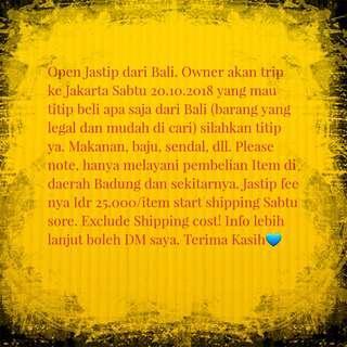 Open Trip! Jastip dari Bali ke Jakarta