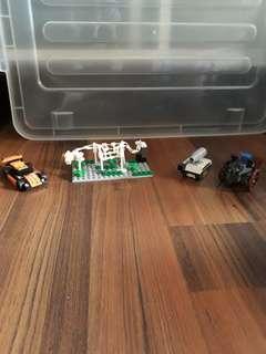 Lego Custom Made Tank, Dinosaur skeleton. F1 Race Car and Lego Movie Catapult machine.