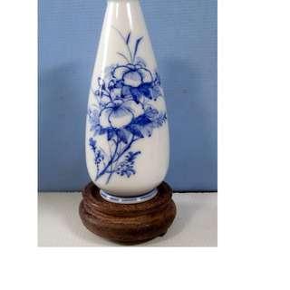 Antique Blanc De Chine Dehua white porcelain vase floral motif c 1960s unused