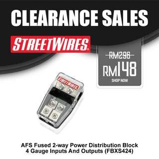 STREETWIRES AFS Fused 2-Way Power Distribution Block - 4 gauge inputs and outputs (FBXS424)