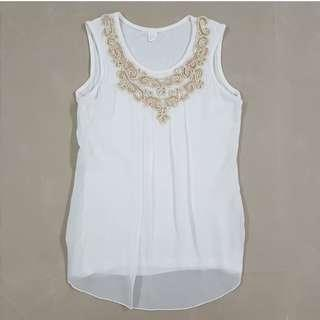 White Top Ladies / White Sleeveless Top With Gold Sequins Ladies