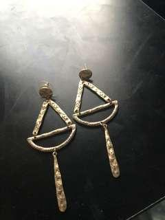 Hand made one off gold dangle statement earrings