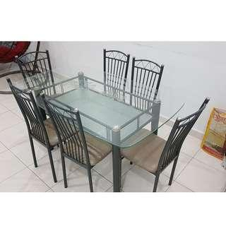 Glass dining set with 6 chairs