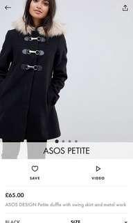 ASOS Petite duffle coat with swing skirt and metal work