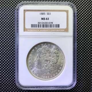 NGC MS61 1885 S $1 Morgan Silver One Dollar 美國摩根銀幣一元