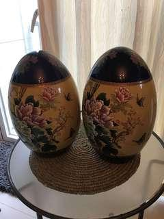 """2 Porcelain Chinese Eggs  approx 12"""""""
