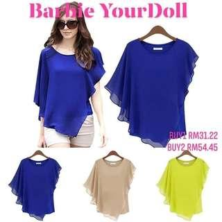 Women New Casual Fashion Round Neck Solid Color Chiffon Tops