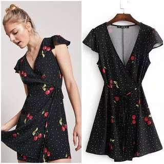 🔥SALE Cherry Print Wrap Mini Dress
