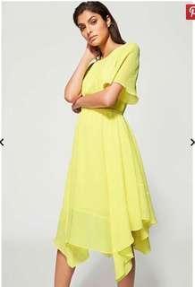 Witchery Hankerchchief Dress Citron Yellow Size 8