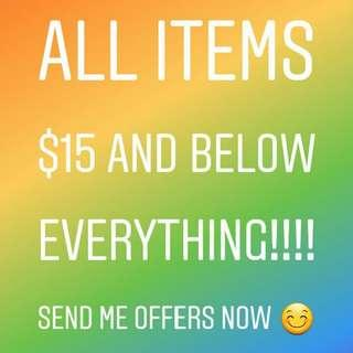 ALL ITEMS $15 AND BELOW