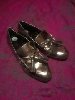 size 8 silver flats shoes hipster school girl loafers