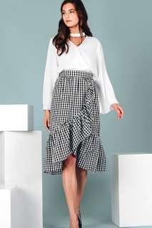 Fashmob gingham ruffle midi skirt