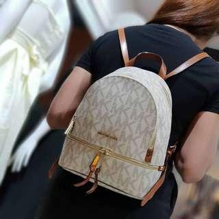 Authentic Michael Kors Rhea Medium Monogram Backpack - Vanilla