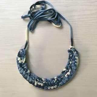 Handmade blue white statement necklace