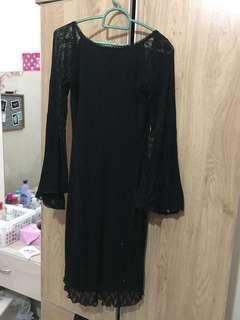 black lace batwing dress