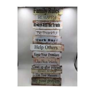 Family Rules Wooden Display