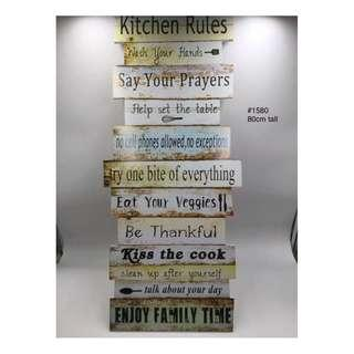 KITCHEN RULES WOODEN DISPLAY