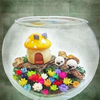 [FREE DELIVERY] Frozen Flowers in Glass Bowl Terrarium (018-GD)
