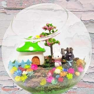 [FREE DELIVERY] Frozen Flowers in Glass Bowl Terrarium (055-GD)