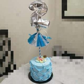 """7"""" Foil balloon tassel cake topper"""