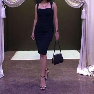 Black Pencil Dinner Dress with sweetheart Neckline