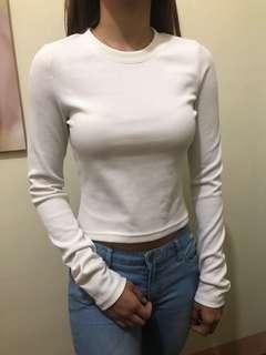 H&M Cream Cropped Long Sleeve Top
