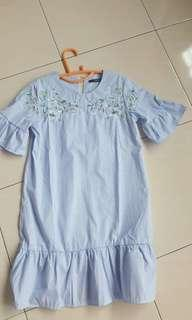Light Blue Stripe Shifted Mermaid Dress (Floral Embroidery)