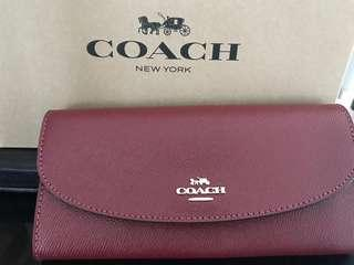 Coach slim envelope (Cherry) - with price tag and Coach paper box!