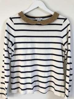 Boden Striped Top w/ Gold collar