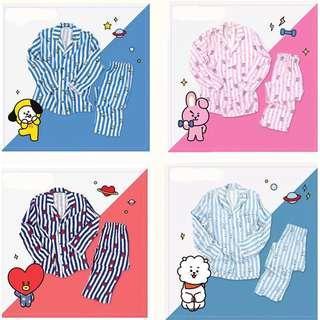 BT21 BTS Unofficial Sleeping Pyjamas / Pajamas Include Top ( Shirt ) With Bottom ( Pants ) Full Set