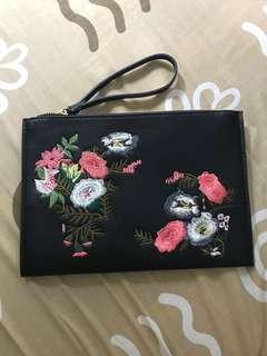 SALE Mango Big Black Embroidered Floral Pouch
