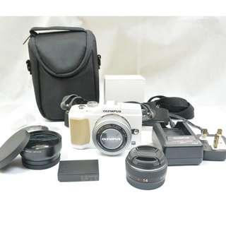1機3鏡頭 Olympus Pen E-PL2 EPL2 白色無反相機 Panasonic 14mm超廣角定焦 ED 14-42mm F3.5-5.6 EZ銀色變焦鏡頭 日本微距廣角鏡