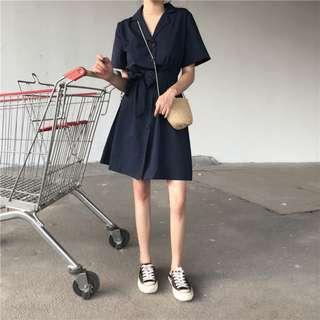 🚚 PO: Calista's Navy Button Down Shirt Dress (Korean Fashion)