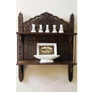 Intricate Wood Carving 2 Tier Shelves