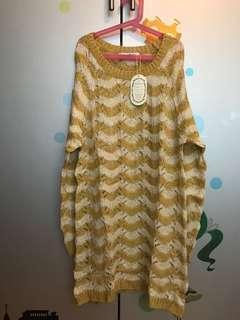 日本黃拼米色波浪紋針織連身裙