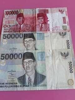 Indonesia  Rupiah old notes 3 pcs